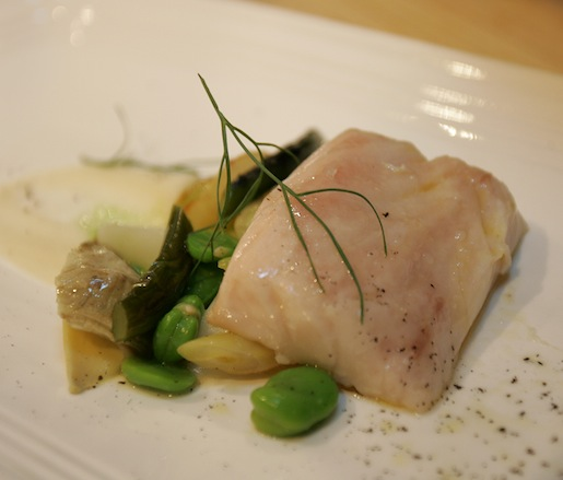 Striped Bass with Vignarola and Garlic Scape Brodo