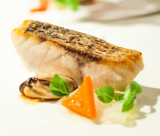 Striped Bass with Mussels, Sesame, and Shiso