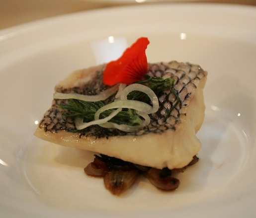 Steamed Black Bass with Speck Consommé and Cipolline