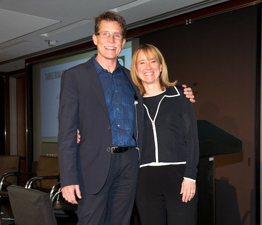 JBF Award winner Rick Bayless with JBF Board of Trustees chair Emily Luchetti after his keynote address on food and trust