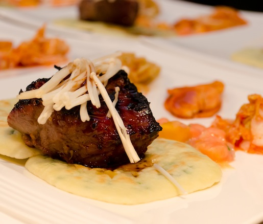 Korean Barbecued Beef Strip Loin with Papaya, Ginger–Lemongrass Jasmine Rice, and Kimchi Tasting