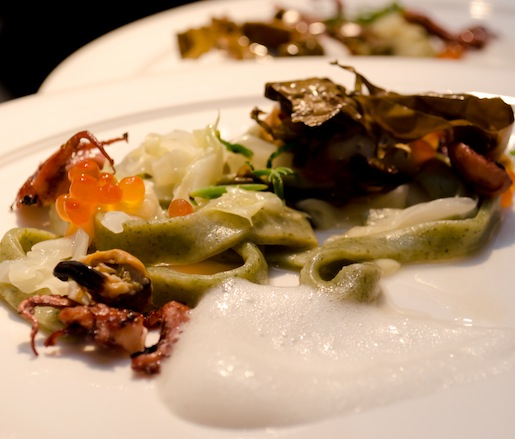 Beach After the Storm > Seaweed Pasta with Salmon Roe, Mussel Foam, Octopus, and Crispy Maine Dulse