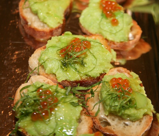 Crushed Fava Bean, Steelhead Roe, and Shiso Crostini