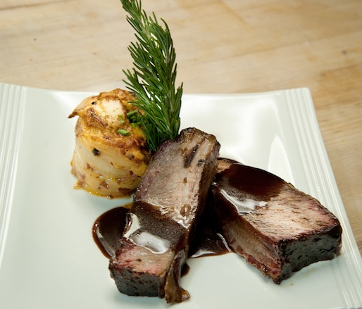 Smoked Beef Short Ribs with Zinfandel Reduction and Cheddar–Potato Bake