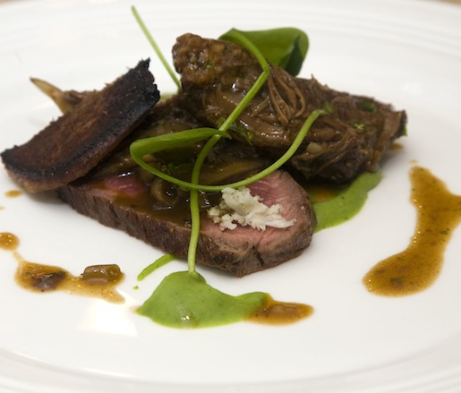 Wyebrook Farm Beef with Pickled Ramps, Horseradish, Kennett Square Mushrooms, and Creamy Field Beans