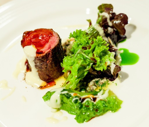 Beef Spinals with Bagna Cauda, Potato Béarnaise, and Lettuces