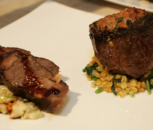 Beef Duo > Zinfandel-Braised Short Ribs and Seared Tenderloin with Bone Marrow–Mushroom Butter, Horseradish-Braised Cabbage, and Spring Vegetable Farro