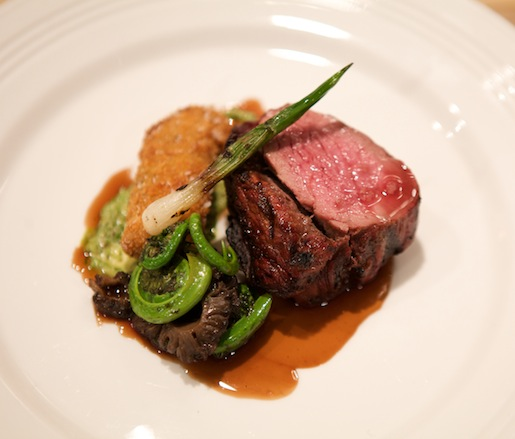 Long Meadow Ranch Beef Tenderloin with Short Rib Croquette, Creamed Fiddleheads and Morels, and Red Wine–Beef Jus