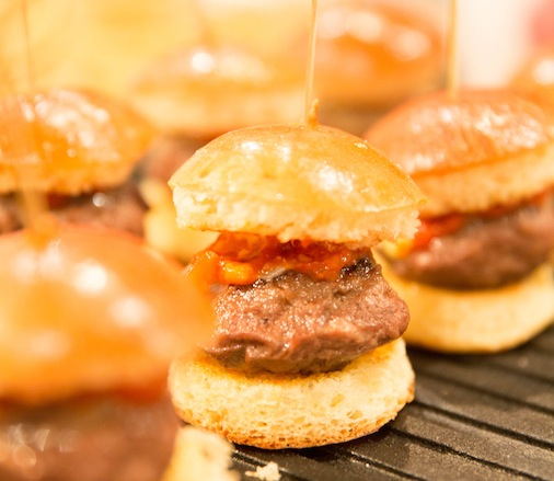 Beef Cheek Sliders with Shallot Marmalade, Truffle Aïoli, and Comté on Miniature Brioche