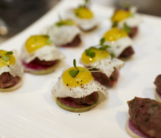 Beef Tartare with Swank Specialty Produce Radishes and Local Farm Egg