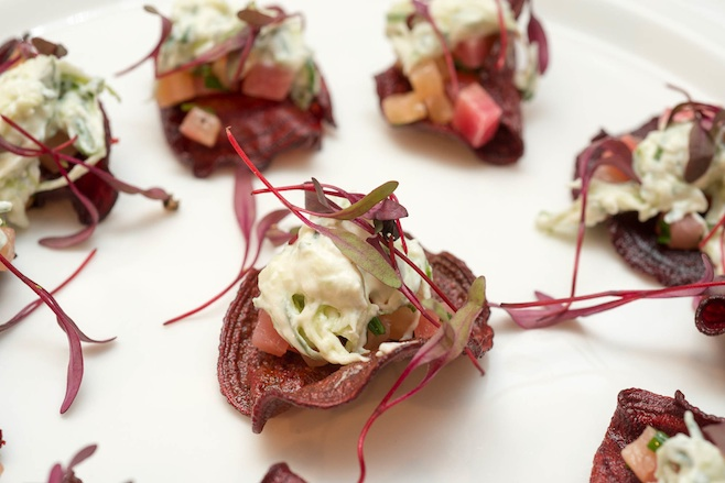 Satur Farms Baby Beet Tartare with Cloumage Tzatziki and Beet Chips