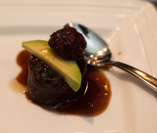 Red Beets with Boudin Noir, Avocado, and Red Wine Vinegar