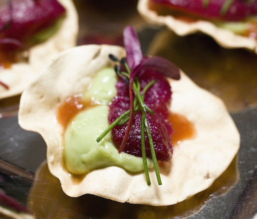 Beet-Cured Ceviche with Pappadam