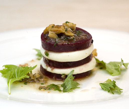 1989 > Beet–Goat Cheese Gâteau with Mizuna, Walnuts, and Sherry Vinaigrette