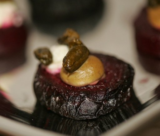Gummy Beets with Labneh and Pistachios