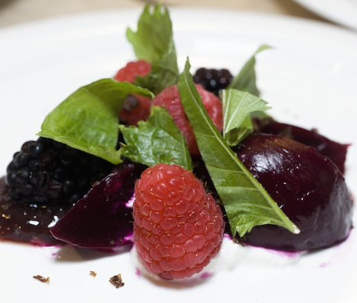 Beets with Yogurt, Hibiscus, and Red Fruit