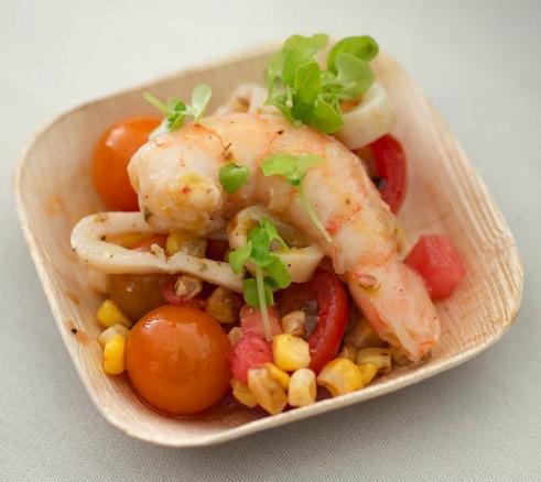 Jonathan Benno's shrimp and calamari with corn, tomatoes, basil, and Calabrian chilies
