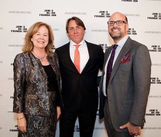 JBF president Susan Ungaro, master of ceremonies JBF Award winner John Besh, and JBF executive vice president Mitchell Davis