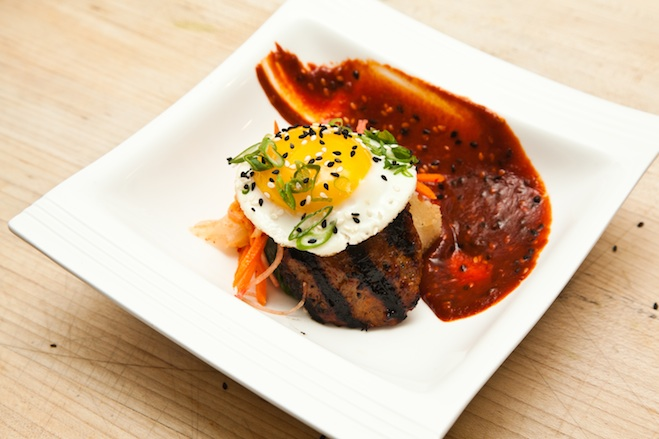 Willow Creek Farm Pork Bibimbap with Crispy Rice, Market Vegetables, Sunny-Side-Up Hen Egg, and Gochujang