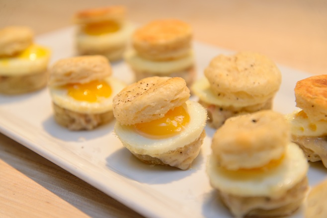 Biscuits and Gravy > Heirloom Italian Pork Bratwurst and Gravy with Quail Eggs on Miniature Black Pepper Biscuits