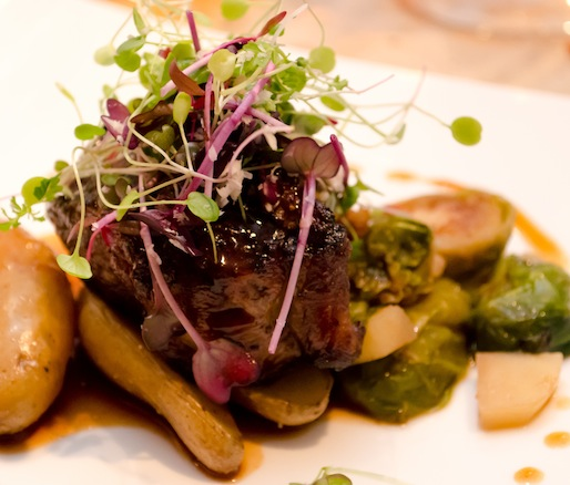 Kentucky Bison with Fingerling Potato Confit, Brussels Sprouts, and Kentuckyaki–Bourbon Jus
