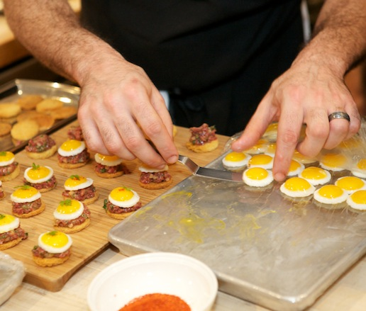 Bison Tartare with Sunny-Side-Up Quail Eggs on Brioche