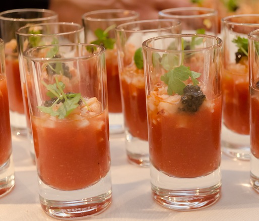 Heirloom Tomato Bloody Marys with Lobster Salad, Beluga Vodka, and Caviar