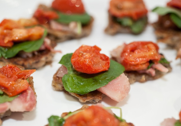 B.L.T.s > Lacquered Slow-Roasted Bacon with Watercress, Cured Tomatoes, and Black- Eyed Pea–Potato Latkes