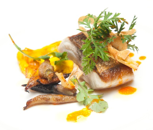 Bluefish with Spiced Ginger-Carrot Purée and Crispy Root Vegetables