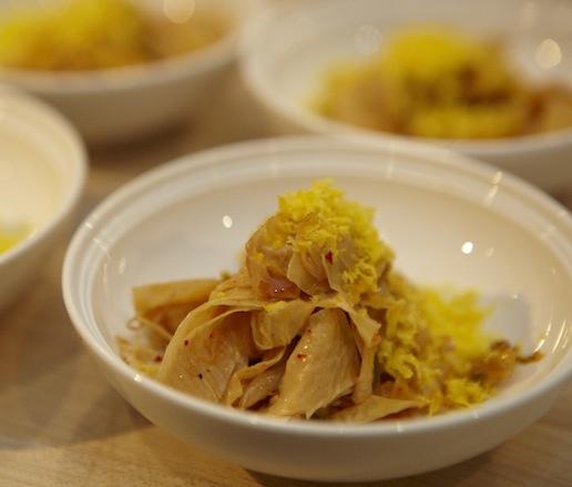 Spicy Kimchi Yuba with Smoked Egg 'Bottarga'