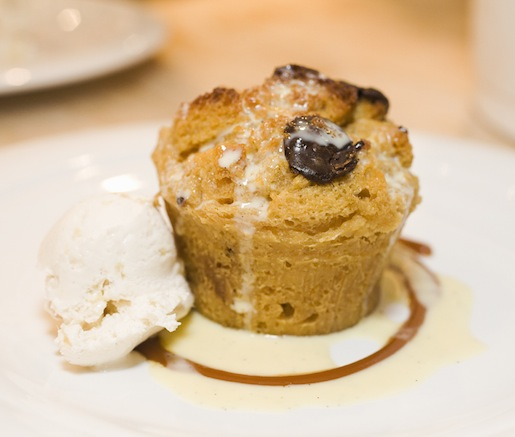 Chocolate Bread Pudding with Salted Caramel and Ginger Cream