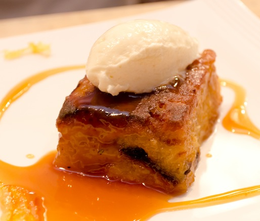 Della Fattoria Bread Pudding with Candied Meyer Lemon and White Chocolate Mousse