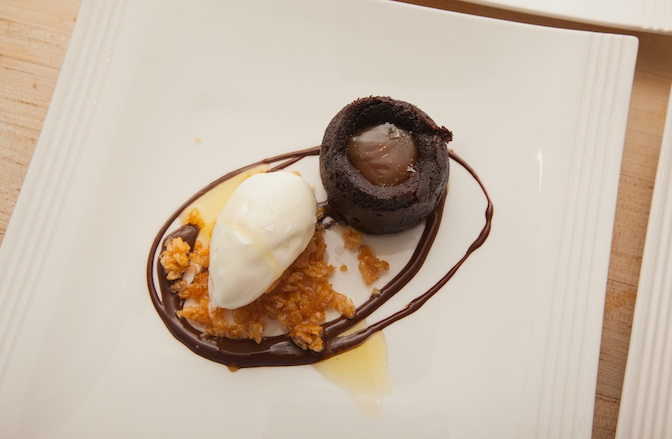 Salted Chocolate Budino with Olive Oil Gelato and Caramelized Rice Krispies