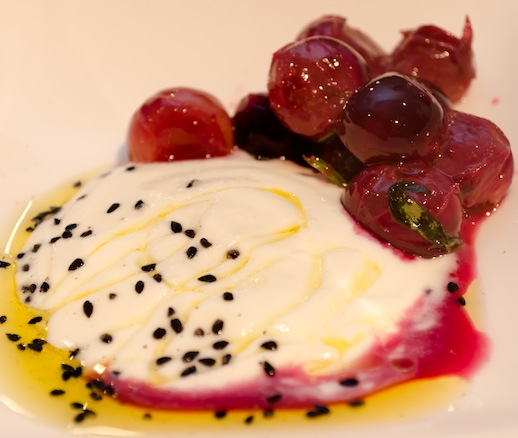 Water Buffalo Kajmak Cheese with Grapes and Nigella Seeds