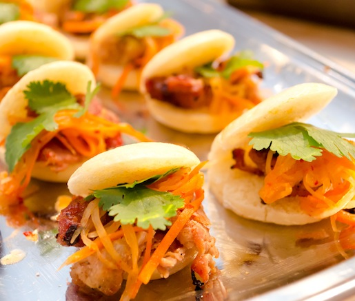 Grilled Pork Steamed Buns with Kimchi and Sweet Soy