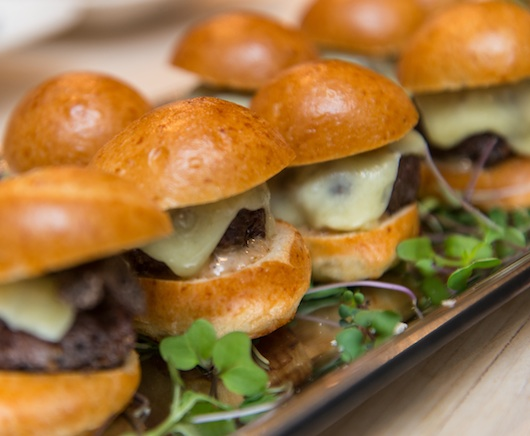 Miniature 7X Colorado Beef Cheeseburgers with Clothbound Cheddar, Truffled Ketchup, and Brioche