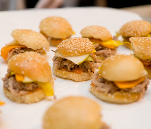 Miniature Pork Sliders with Sweet Pickles and Smoked Paprika Aïoli