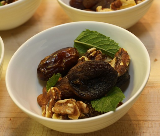 Dates, Walnuts, and Mint for the Burrata