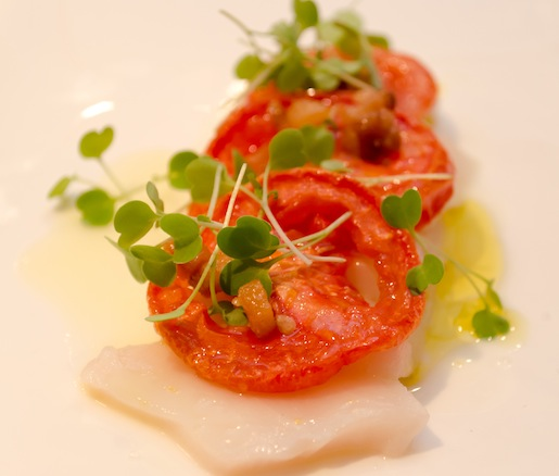 Butterfish Crudo with Tomatoes, Lemon, and Lardo