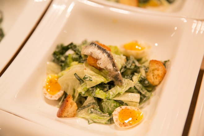 Tuscan Kale–Romaine Caesar Salad with Soft-Boiled Quail Egg
