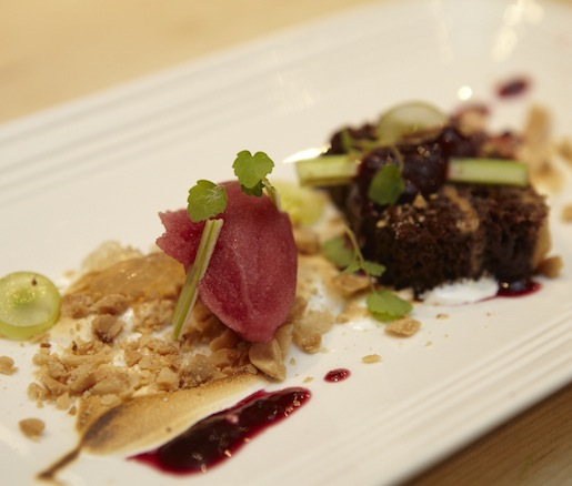 Peanut Butter and Jelly > Peanut Butter Cake with Concord Sorbet, Candied Celery, Sliced Grapes, and Crushed Peanuts