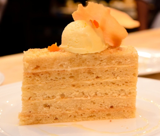 12-Layer Honey Cake with Toigo Orchards Peach Blossom Honey, Honeycomb Ice Cream, and Almond Tuile