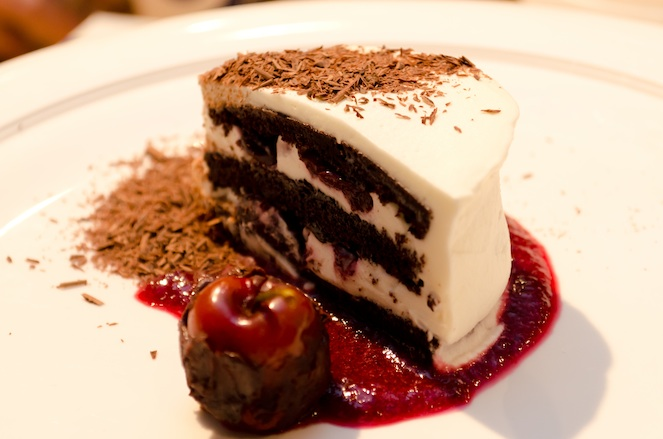 Traditional Black Forest Cake with Kirsch and Cherries