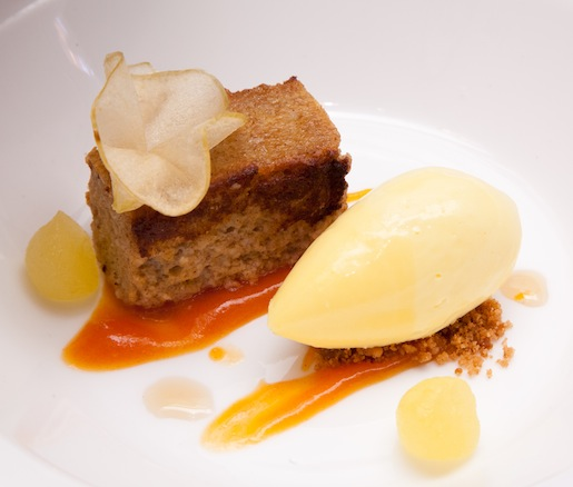 Persimmon Pudding Cake with Raw Milk Ice Cream