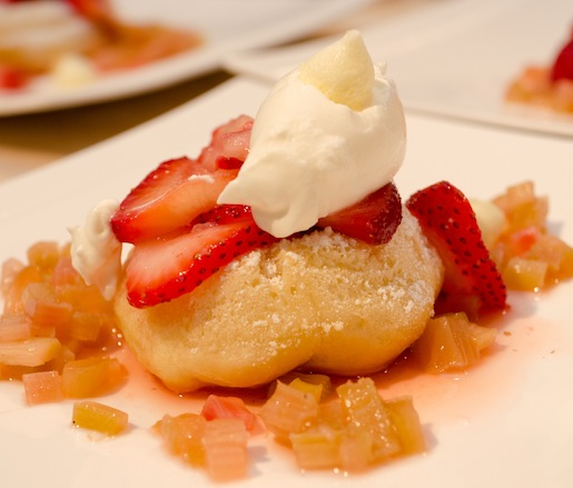 Savarin Cake with Strawberries, Rhubarb Mousse, and Lemon–Yogurt Meringues