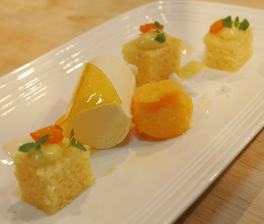 DaVero Olive Oil Cake with Meyer Lemon Mousse, Clementine Veil, Honey Tangerine Sorbet, and Candied Kumquats