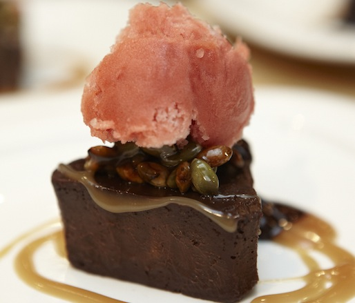 El Rey Chocolate Three Point Cake with Ancho Chile–Raspberry Gelato, Chocolate–Cascabel Chile Ganache, and Toasted Pepita Brittle