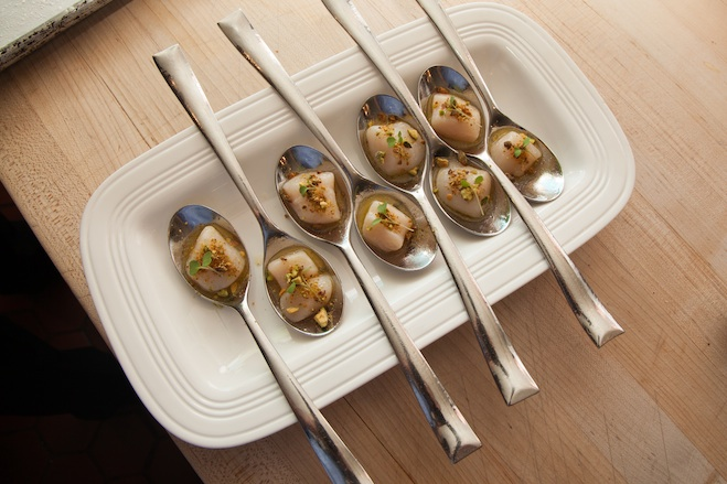 Nantucket Bay Scallops with Pistachio and Meyer Lemon