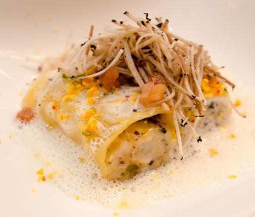 Cannelloni with Maine Scallops, Seaweed Butter, Eggs Mimosa, Chives, 24-Month-Aged Parmigiano-Reggiano Emulsion, Lardo di Colonnata, and Truffles