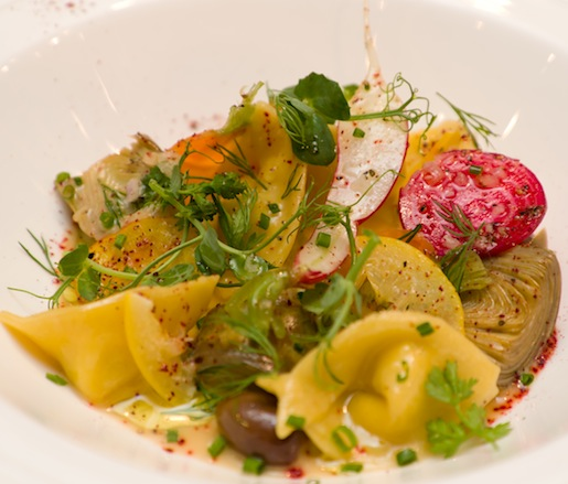Georgia Ricotta–Preserved Meyer Lemon Cappelletti with Roasted Young Artichokes, Spring Carrots, and Pea Sprouts